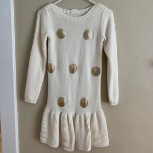Crazy 8 Cream & Gold Sweater Dress or Long Sweater